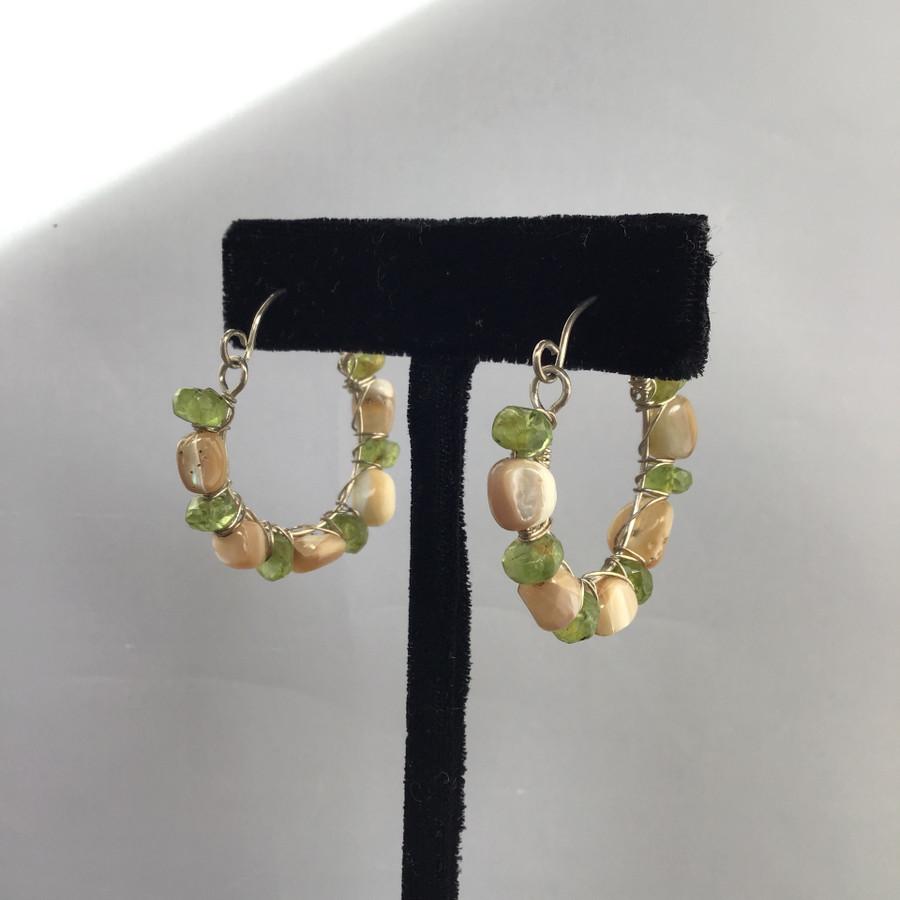 Peridot & Abalone Hoop Earrings