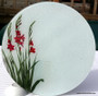 Byzantine gladiolus design.  These exquisite glass chopping boards sing of heirloom bulbs, while being very utilitarian and decorative in the kitchen!