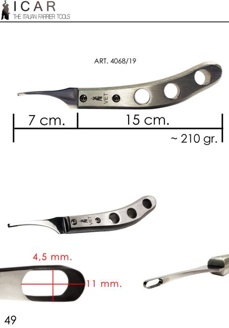 Icar Vet Loop Aluminium knife