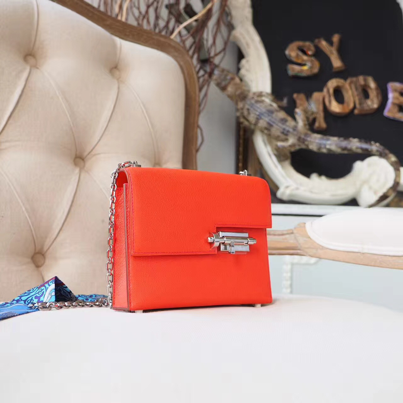 6853925489ae Hermes Verrou 18cm Bag Chevre Mysore Goatskin Leather Palladium Hardware