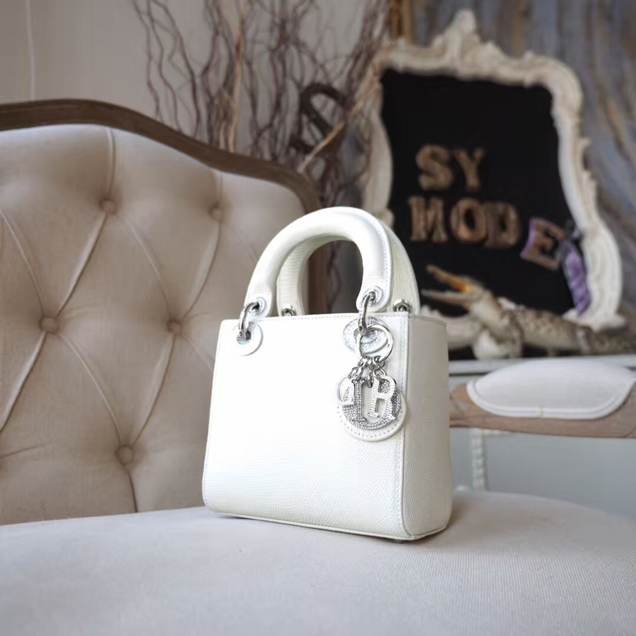 Christian Dior Mini Lady Dior 17cm Bag with Diamond Charms Lizard Skin  Silver Hardware d96124b2424fb