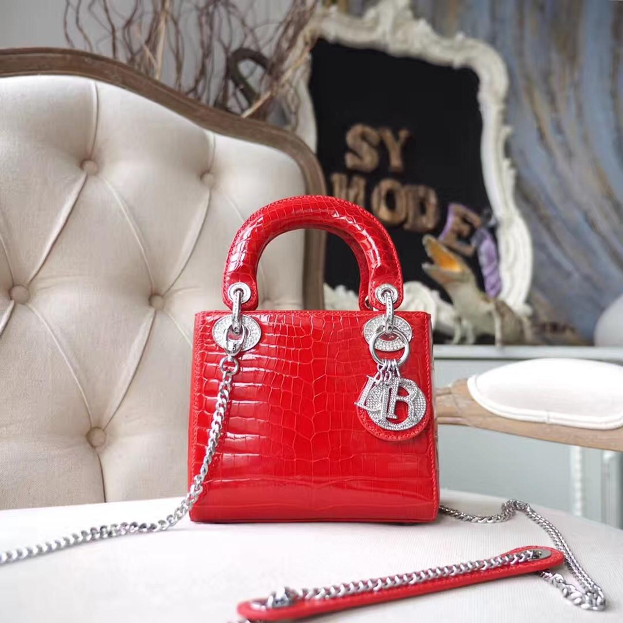 566f5a9a1a0f Christian Dior Mini Lady Dior 17cm Bag Shiny Niloticus Crocodile Skin  Silver Hardware