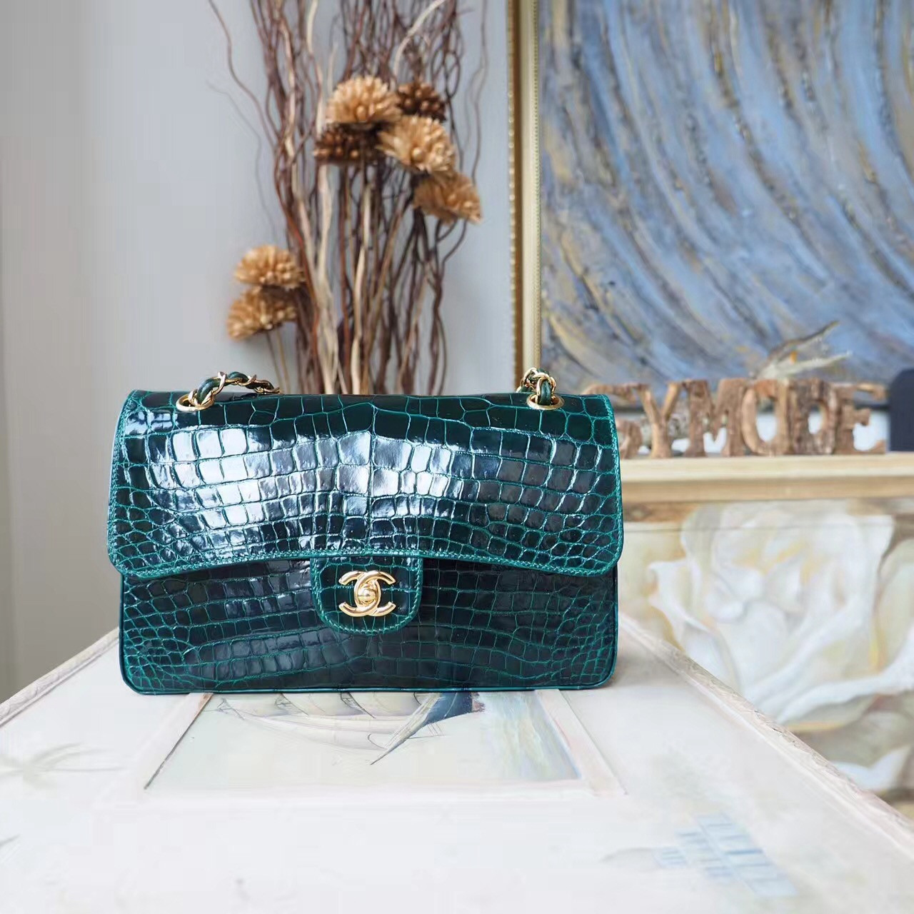e39043b354a7fc Chanel Alligator Skin Classic Flap 25cm Bag Gold Hardware Spring/Summer  2018 Collection, Emerald