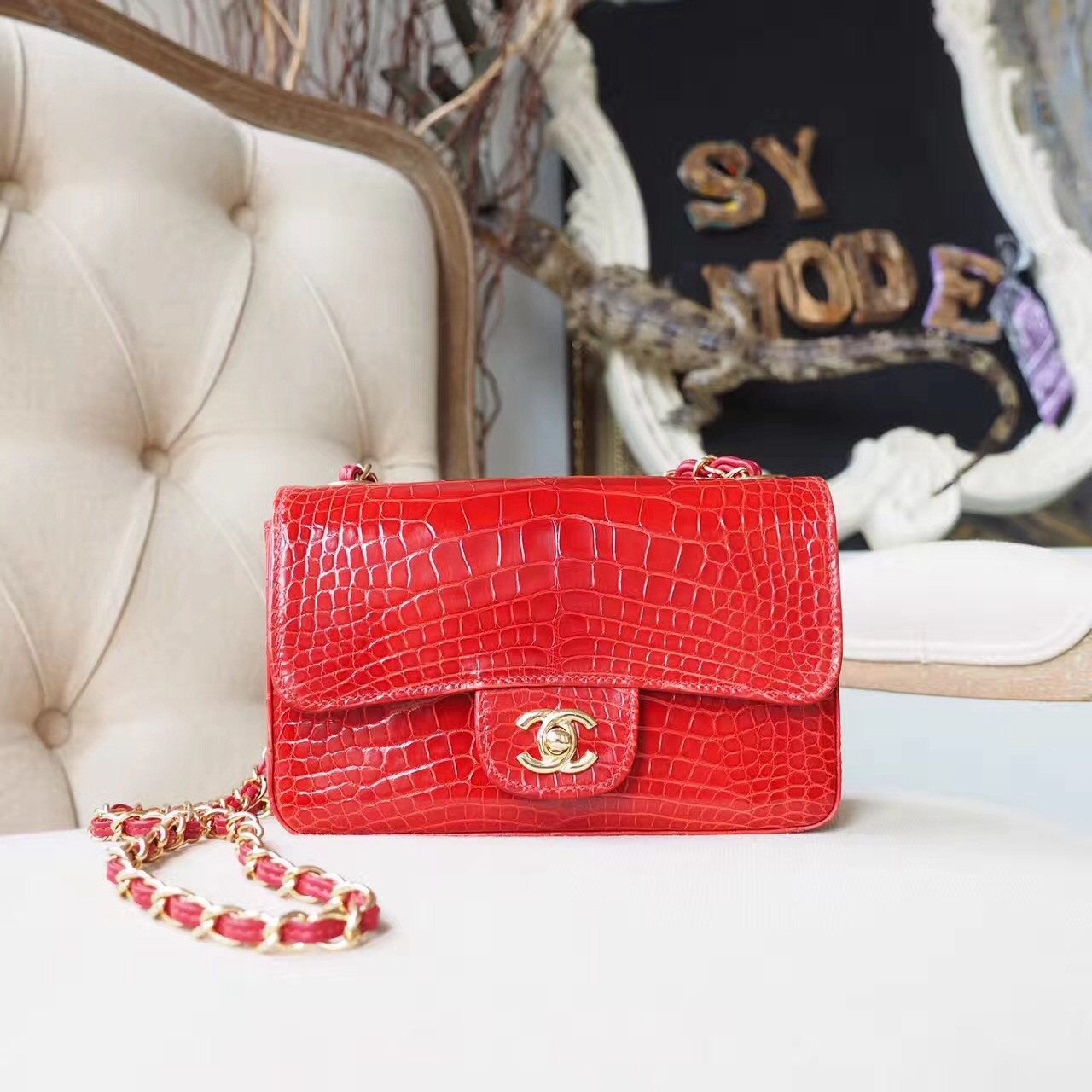 740f66bafec50e Chanel Alligator Skin Classic Flap 20cm Bag Gold Hardware Spring/Summer  2018 Collection, Orange
