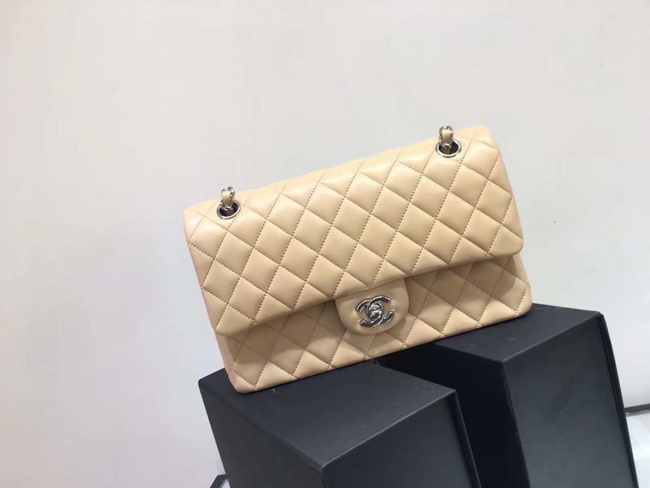 61b7b36498eef0 Chanel Classic Flap 25cm Bag Silver Hardware Lambskin Leather Spring/Summer  2018 Collection, Beige