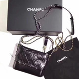 Chanel Aged Calfskin Quilted Medium Gabrielle Hobo Bag, Black