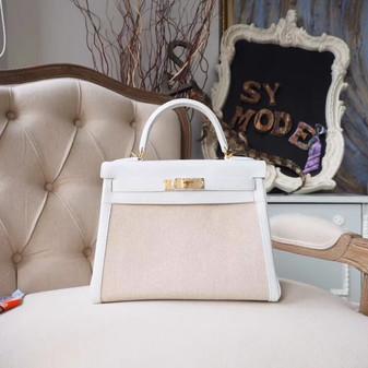 Hermes Kelly 28cm H Toile Canvas Bag Togo Calfskin Leather Gold Hardware, Blanc CK01