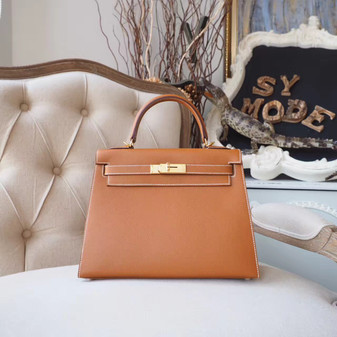Hermes Kelly 28cm Bag Epsom Calfskin Leather Gold Hardware, Gold CK37