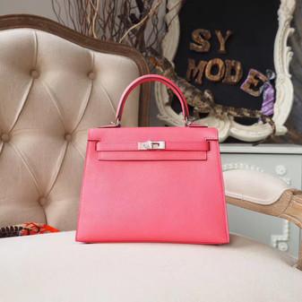 Hermes Kelly 25cm Bag Chevre Mysore Goatskin Leather Palladium Hardware, Rose Azalee 8W