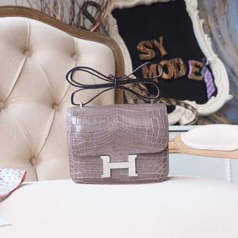 Hermes Constance 18cm Bag Shiny Crocodile Palladium Hardware, Gris Tourterelle CK81