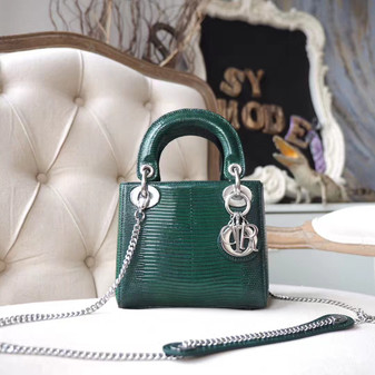 Christian Dior Mini Lady Dior 17cm Bag Lizard Skin Silver Hardware, Dark Green