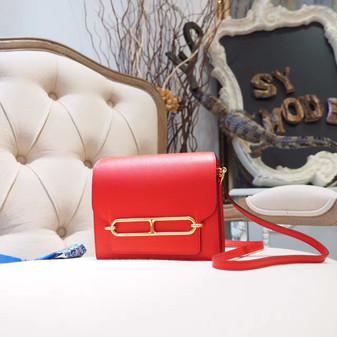 Hermes Roulis 18cm Bag Chevre Mysore Goatskin Leather Gold Hardware, Rouge Tomate S5