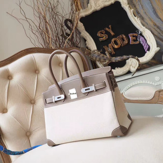 Hermes Birkin 30cm Bag H Toile Canvas Swift Calfskin Leather Palladium Hardware, Etoupe CK18