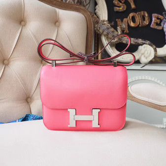 Hermes Constance 23cm Bag Swift Calfskin Palladium Hardware, Rose Azalee 8W