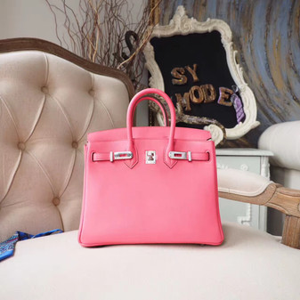 Hermes Birkin 25cm Bag Togo Calfskin Leather Palladium Hardware, Rose Lipstick U5