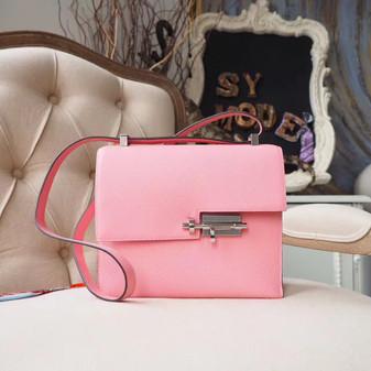 Hermes Verrou 21cm Bag Epsom Calfskin Leather Palladium Hardware, Rose Confetti 1Q