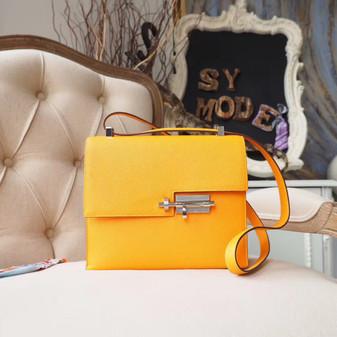 Hermes Verrou 21cm Bag Epsom Calfskin Leather Palladium Hardware, Jaune D'or 9V