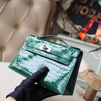 Hermes Mini Kelly Pochette 22cm Bag Shiny Crocodile Skin Palladium Hardware, Vert Emeraude 6Q