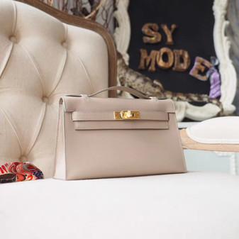 Hermes Mini Kelly Pochette 22cm Bag Tadelakt Swift Calfskin Palladium Hardware, Argile 1F