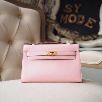 Hermes Mini Kelly Pochette 22cm Bag Tadelakt Swift Calfskin Palladium Hardware, Rose Sakura 3Q