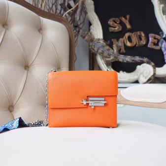 Hermes Verrou Chaine 18cm Bag Chevre Mysore Goatskin Leather Palladium Hardware, Orange CC93