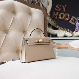 Hermes Mini Kelly 19cm Epsom Calfskin Leather Gold Hardware, Trench S2
