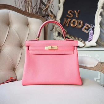 Hermes Kelly 28cm Bag Togo Calfskin Leather Gold Hardware, Rose Lipstick U5