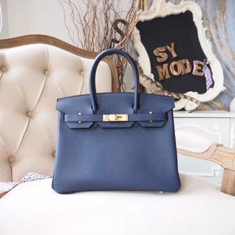 Hermes Birkin 30cm Bag Togo Calfskin Leather Gold Hardware, Blue Nuit 2Z