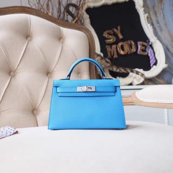 Hermes Mini Kelly 19cm Chevre Epsom Calfskin Leather Palladium Hardware, Blue De Paradise 2T