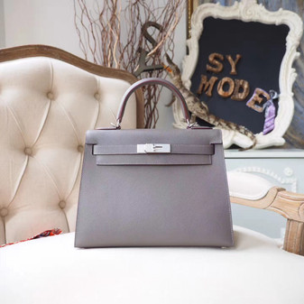 Hermes Kelly 28cm Bag Epsom Calfskin Leather Palladium Hardware, Etain 8F