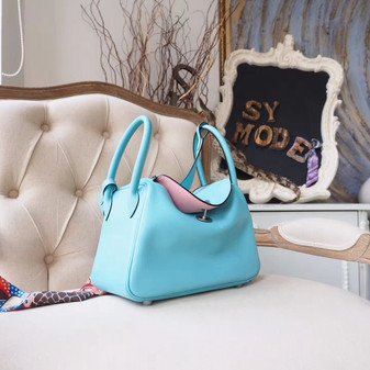 Hermes Lindy 26cm Bag Swift Calfskin Leather Palladium Hardware, Blue Atoll 3P/Rose Sakura 3Q