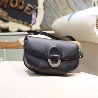 Hermes Cherche Midi Mini 20cm Bag Epsom Calfskin Leather Palladium Hardware, Noir CK89