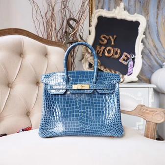 Hermes Birkin 30cm Bag Shiny Mississippiensis Alligator Skin Gold Hardware, Blue Tempete N7
