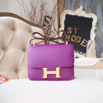 Hermes Bi-Color Constance 23cm Bag Epsom Calfskin Palladium Hardware, Anemone P9/Malachite Z6