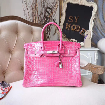 Hermes Birkin 30cm Bag Shiny Mississippiensis Alligator Skin 18KT Diamond Encrusted Palladium Hardware, Fuschia Pink 5J