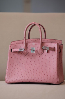 Hermes Birkin 25cm Bag Autruche Ostrich Skin Palladium Hardware, Rose Sakura 3Q