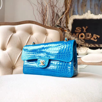 Chanel Alligator Skin Classic Flap 25cm Bag Silver Hardware Spring/Summer 2018 Collection, Turquoise