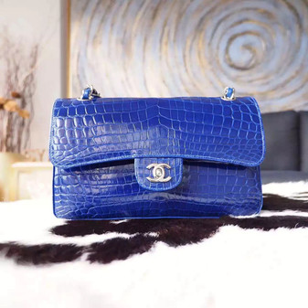 Chanel Alligator Skin Classic Flap 25cm Bag Silver Hardware Spring/Summer 2018 Collection, Electric Blue