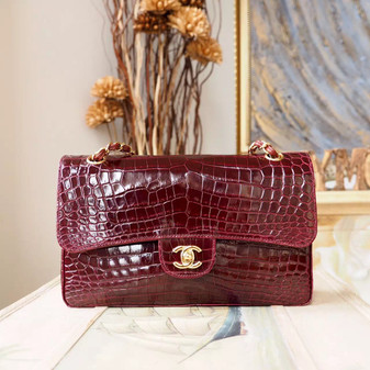 Chanel Alligator Skin Classic Flap 25cm Bag Gold Hardware Spring/Summer 2018 Collection, Bordeaux Red