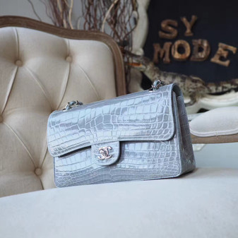 Chanel Alligator Skin Classic Flap 25cm Bag Silver Hardware Spring/Summer 2018 Collection, Grey