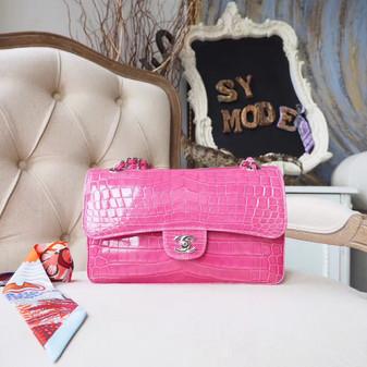 Chanel Alligator Skin Classic Flap 25cm Bag Silver Hardware Spring/Summer 2018 Collection, Rose Pink