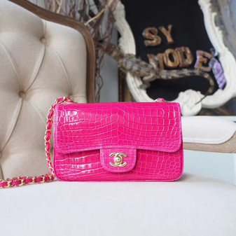 Chanel Alligator Skin Classic Flap 20cm Bag Silver Hardware Spring/Summer 2018 Collection, Hot Pink