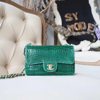 Chanel Alligator Skin Classic Flap 20cm Bag Gold Hardware Spring/Summer 2018 Collection, Green