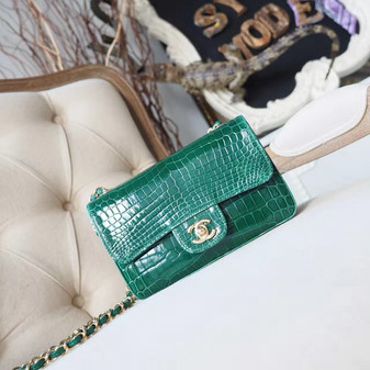 Chanel Alligator Skin Classic Flap 20cm Bag Silver Hardware Spring/Summer 2018 Collection, Green