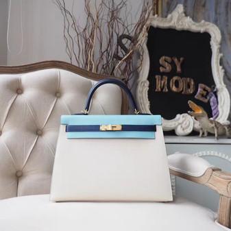 Hermes Kelly 28cm Bag Epsom Calfskin Leather Gold Hardware, Blanc CK01/Bleu de Malte