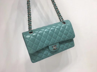 Chanel Classic Flap 25cm Bag Silver Hardware Lambskin Leather Spring/Summer 2018 Collection, Seafoam