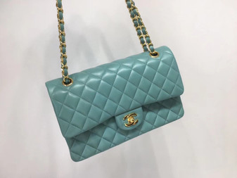 Chanel Classic Flap 25cm Bag Gold Hardware Lambskin Leather Spring/Summer 2018 Collection, Seafoam