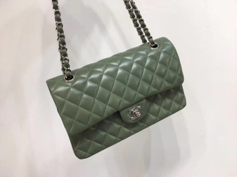 Chanel Classic Flap 25cm Bag Silver Hardware Lambskin Leather Spring/Summer 2018 Collection, Olive Green