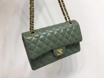 Chanel Classic Flap 25cm Bag Gold Hardware Lambskin Leather Spring/Summer 2018 Collection, Olive Green