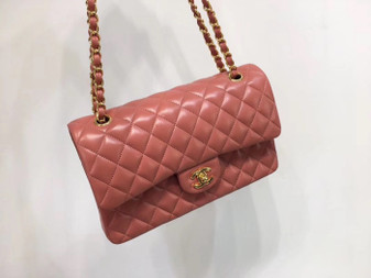 Chanel Classic Flap 25cm Bag Gold Hardware Lambskin Leather Spring/Summer 2018 Collection, Salmon Pink